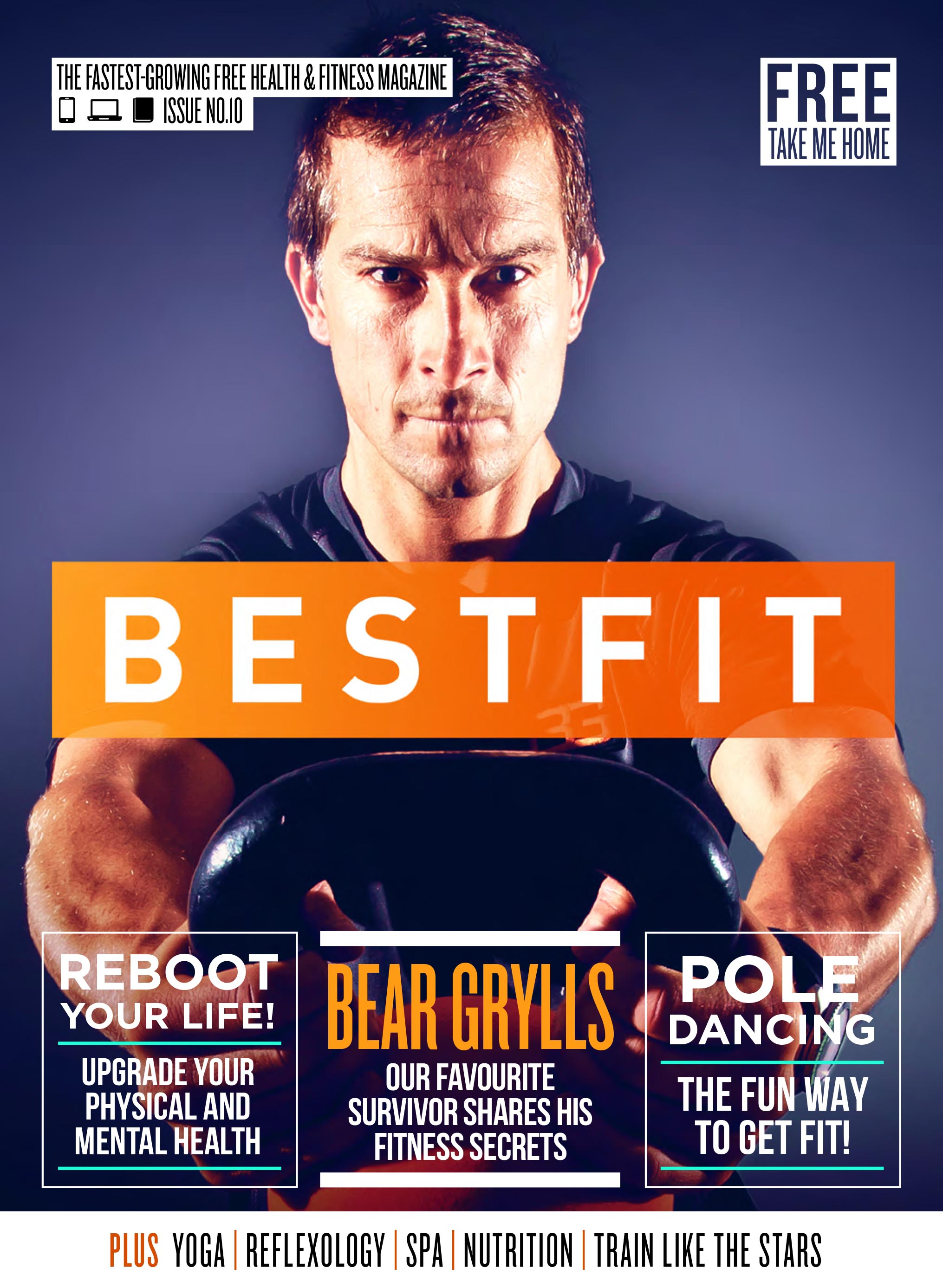 Bestfit Issue 10 cover photo, featuring Bear Grylls.