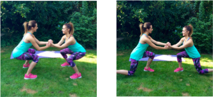 partner assisted squat lunge