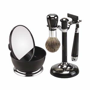 Famego's Black Shaving Set With Mirror Shaving Bowl, male grooming