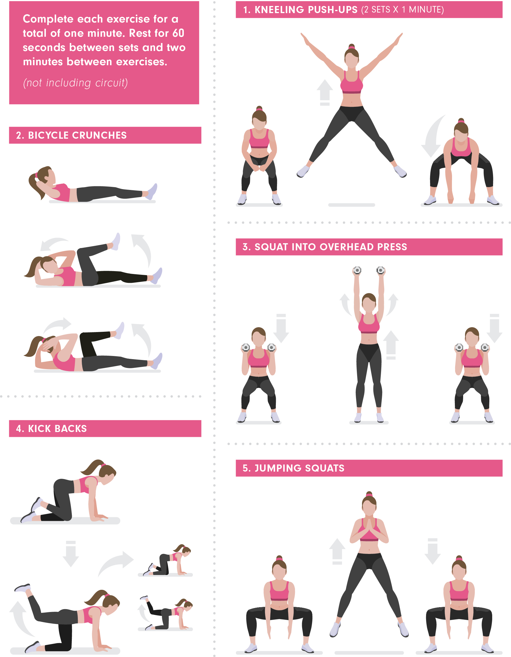 15-Minute Workout with Krissy Cela. Full body workout: 1. Kneeling push-ups (2 sets x 1 minute) 2. Bicycle crunches 3. Squat into overhead press 4. Kick backs 5. Jumping squats