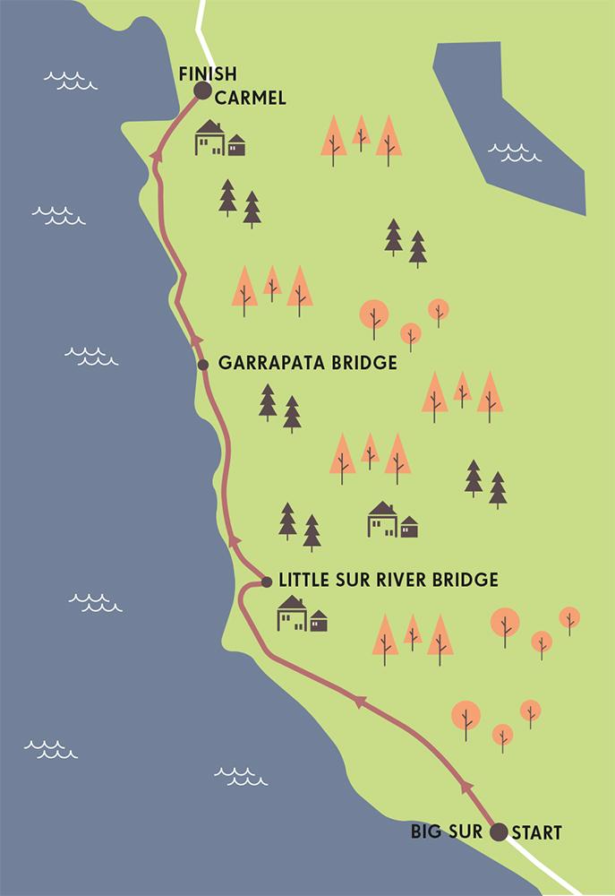RUNNING ROUTE THE BIG SUR MARATHON NORTH AMERICA MAP