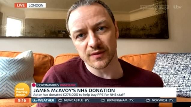 coronavirus good news james mcavoy NHS donation